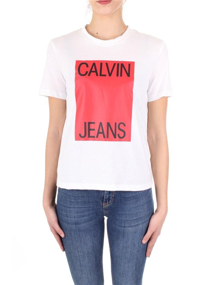 super popular 91e1e 237e0 Calvin Klein Jeans T-shirt Donna Bianco/rosso | Mxm Fashion