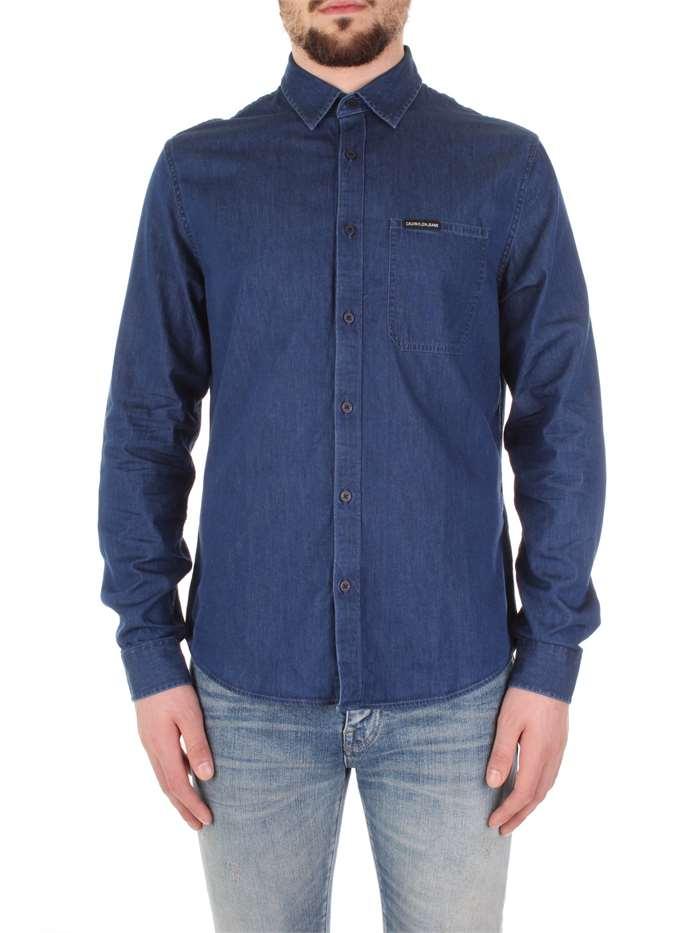 huge selection of dd6b9 de600 Calvin Klein Jeans Camicia Uomo Blu   Mxm Fashion